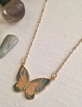 Pika & Bear Papillon Vintage Butterfly Necklace