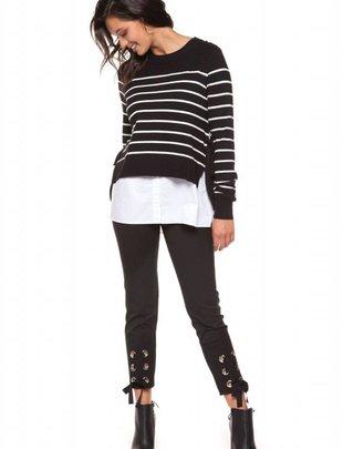 Black Tape Black Tape Sweater Stripe Knit W/ Shirt Detail