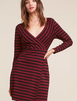 BB DAKOTA BB Dakota Dress L/Slv Striped V Neck W/ Tie