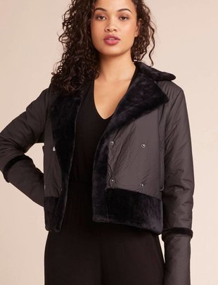 BB DAKOTA BB Dakota Jacket Total Eclipse Vegan Leather Jacket W/ Fur Trim