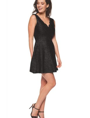 DEX Dex Dress Slv/Less Scalloped Neckline Fit & Flare