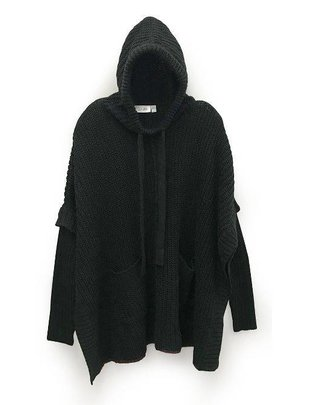 RD INTERNATIONAL Rd Int'l Sweater Knit Hoodie Poncho w/ Pockets
