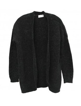RD INTERNATIONAL RD Int'l Cardigan Fuzzy Open L/Slv w/ Ribbed Trimming