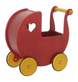 Moover Wooden Doll Pram Red