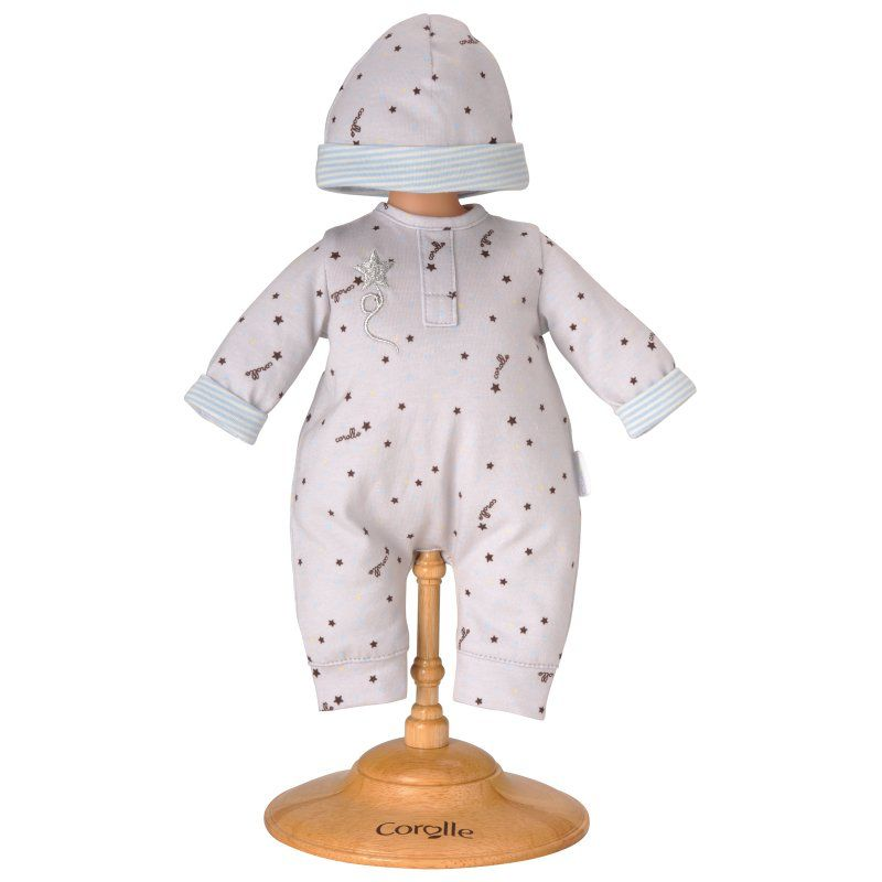 Corolle Grey stars pajamas and hat