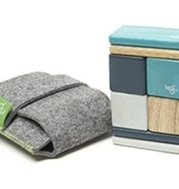 Tegu Original Pocket Pouch 8 Magnetic Wooden Blocks Blue