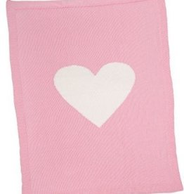 Merben Pink Baby Blanket with a Heart Merben