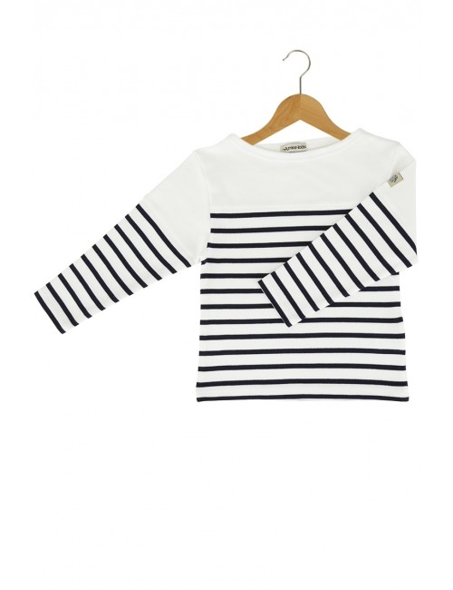 Armor Lux Long-sleeve T-shirt white and navy blue Size 8 years