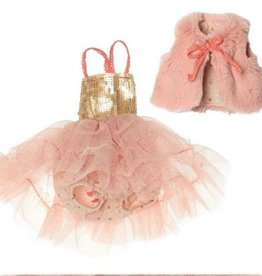 Maileg Best Friends Ballerina Dress and Fur Vest -Rose