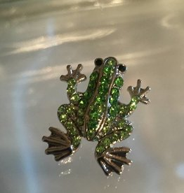 Snap Button Jewels™ | animal | silver | frog w/ green rhinestones