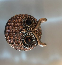 Snap Button Jewels™ | animal | silver | pink rhinestone owl head
