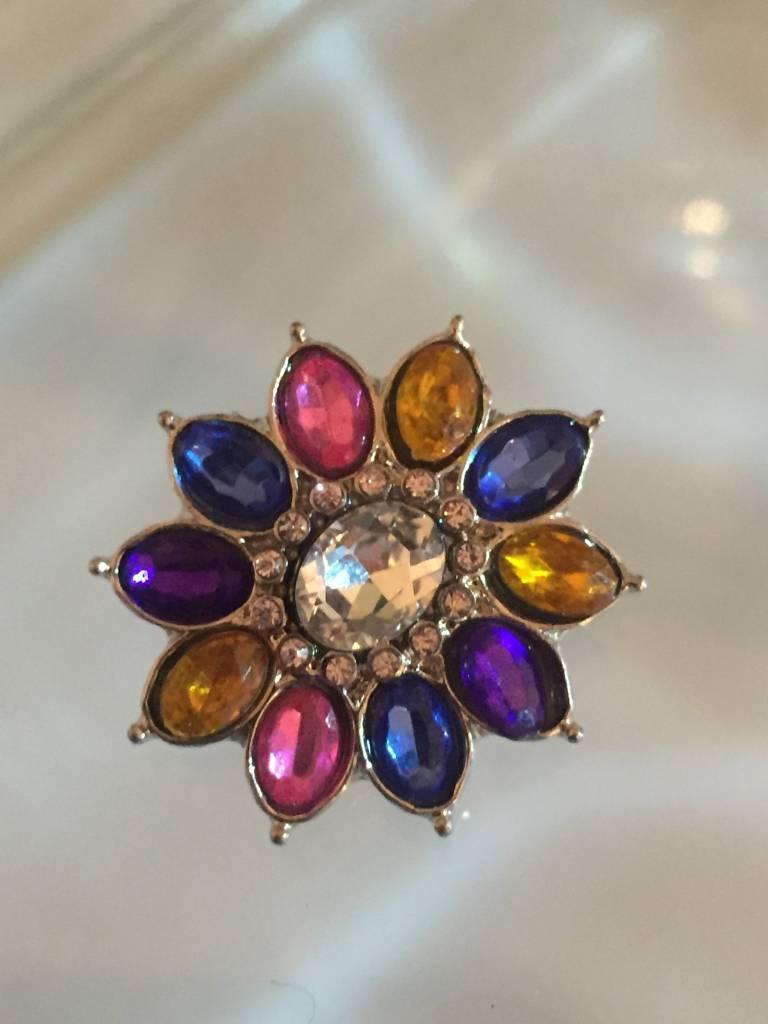 Snap Button Jewels® | rhinestone | multi-color | flower