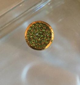 Snap Button Jewels™ | rhinestone | gold | green stones