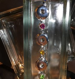 bracelet | silver | circles w/ colored rhinestones | 3 snap button