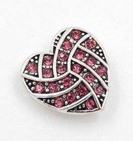 Snap Button Jewels™ | heart | ornate pink rhinestones