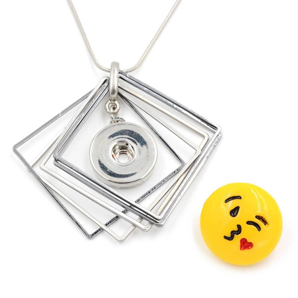 Snap Button Jewels™ | Fun | Emoji Kiss Heart Inside