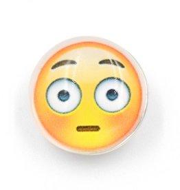 Snap Button Jewels®   fun glass   yellow   scared emoji