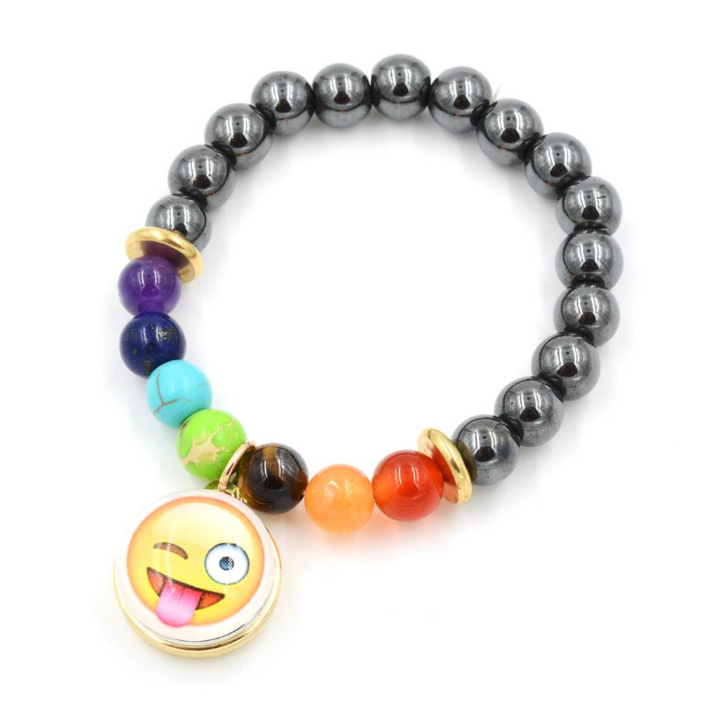 Snap Button Jewels™ | Fun Glass | Yellow | Emoji Tongue