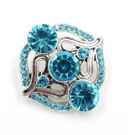 Snap Button Jewels™ | rhinestone | light blue ornate 3 stones