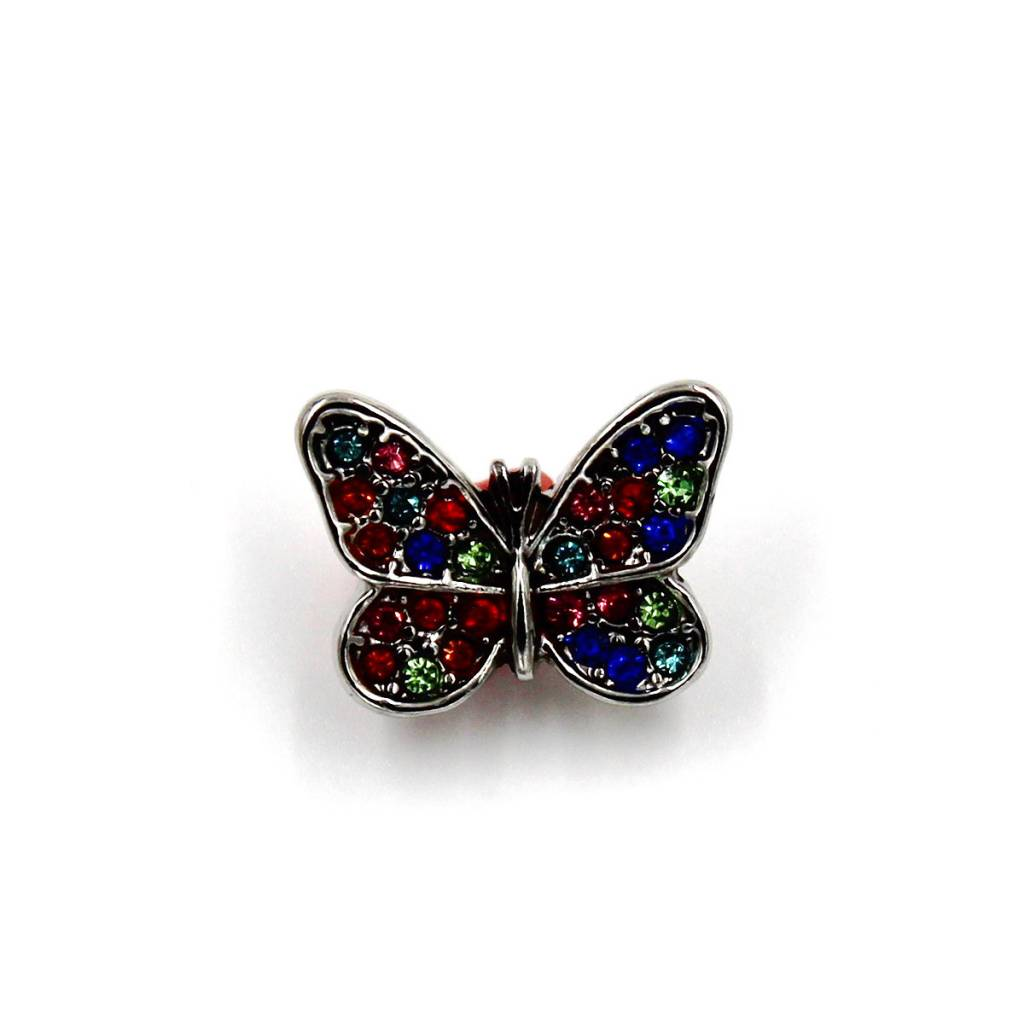 Snap Button Jewels™ | rhinestone | silver | red green blue rhinestones butterfly