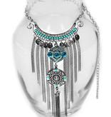 necklace | silver | long tassels blue