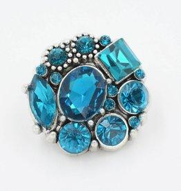 Snap Button Jewels™   rhinestone   aqua blue   multi stone