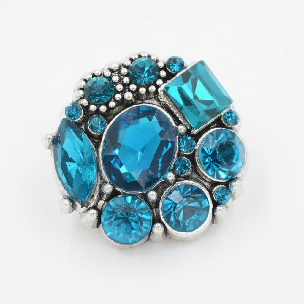 Snap Button Jewels™ | rhinestone | aqua blue | multi stone
