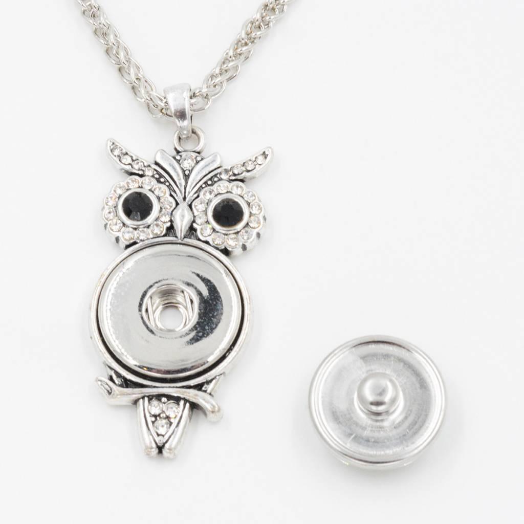 pendant | silver| owl crystal eyes