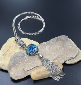 necklace | silver | long tassel crystal ball | 1 Snap