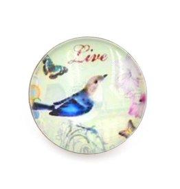 Snap Button Jewels™ | glass canvas art | blue | bird
