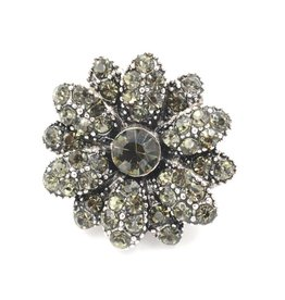 Snap Button Jewels™ | rhinestone | gray | vintage flower