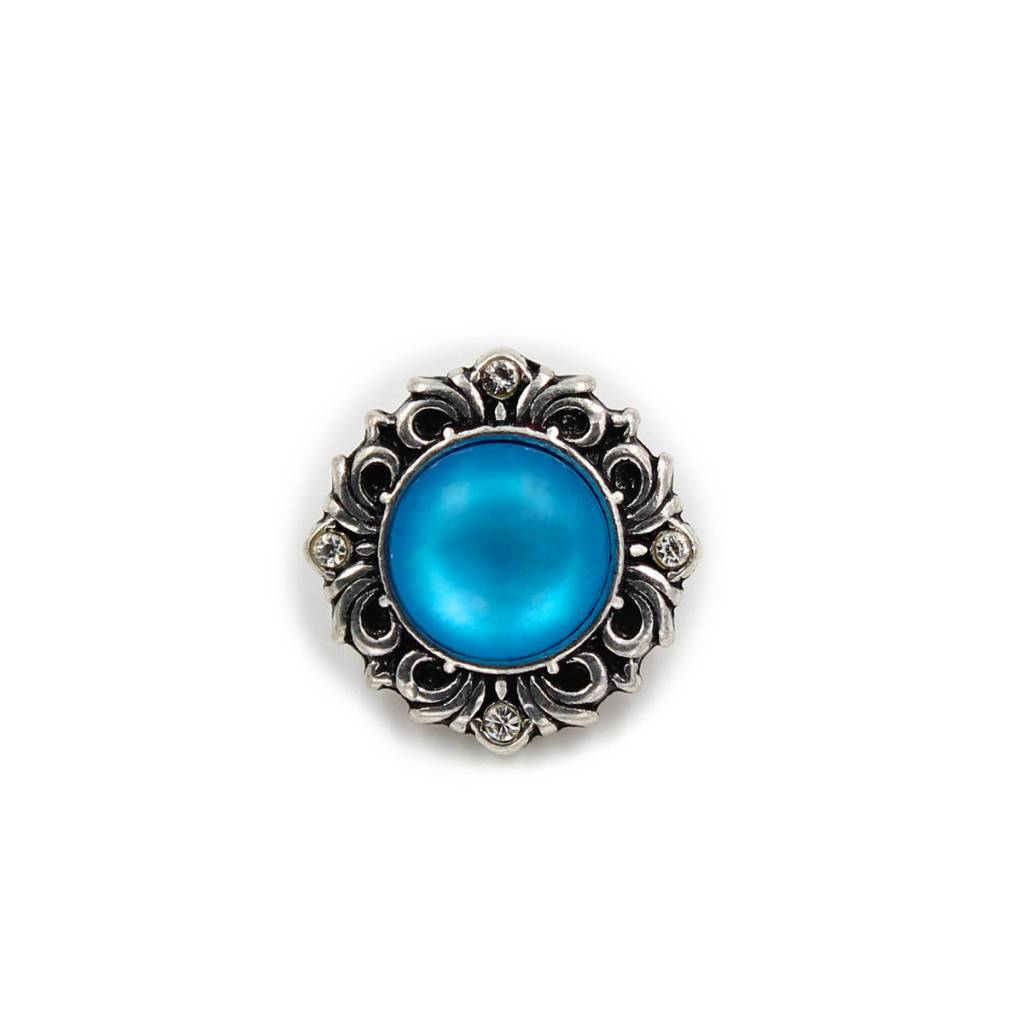 Snap Button Jewels™ | blue pearlized | ornate flower