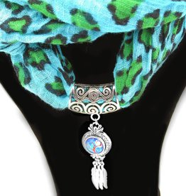 scarf snap button | silver | spiral pattern crystal circle