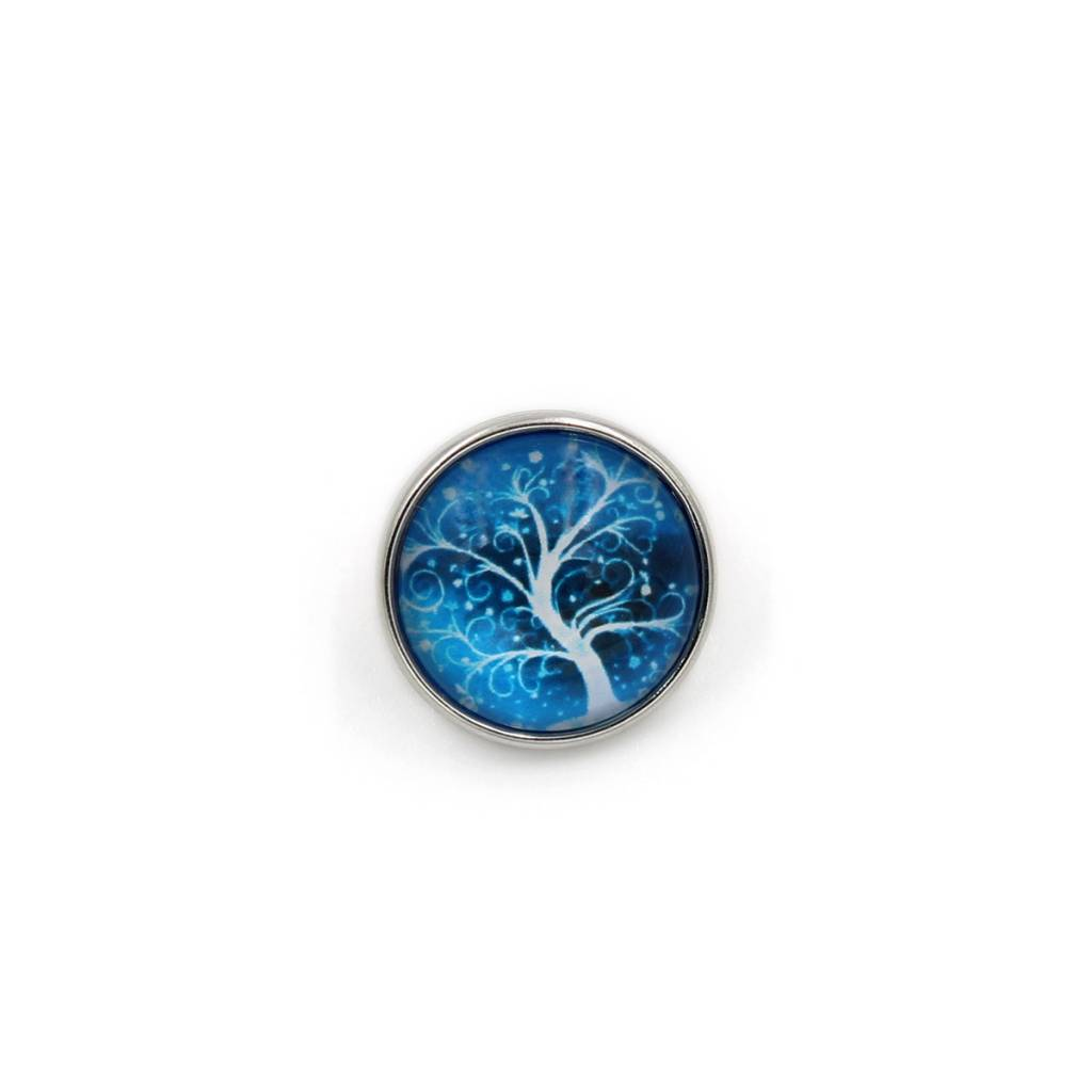 Snap Button Jewels™ | glass canvas art | teal blue | midnight tree