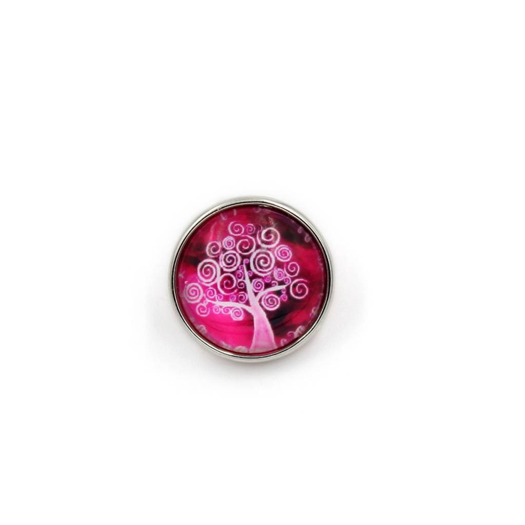 Snap Button Jewels™ | glass canvas art| hot pink | swirl  tree