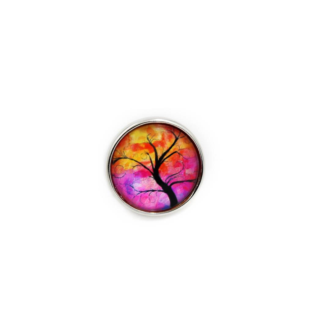 Snap Button Jewels™   glass canvas art   pink yellow orange   thin tree