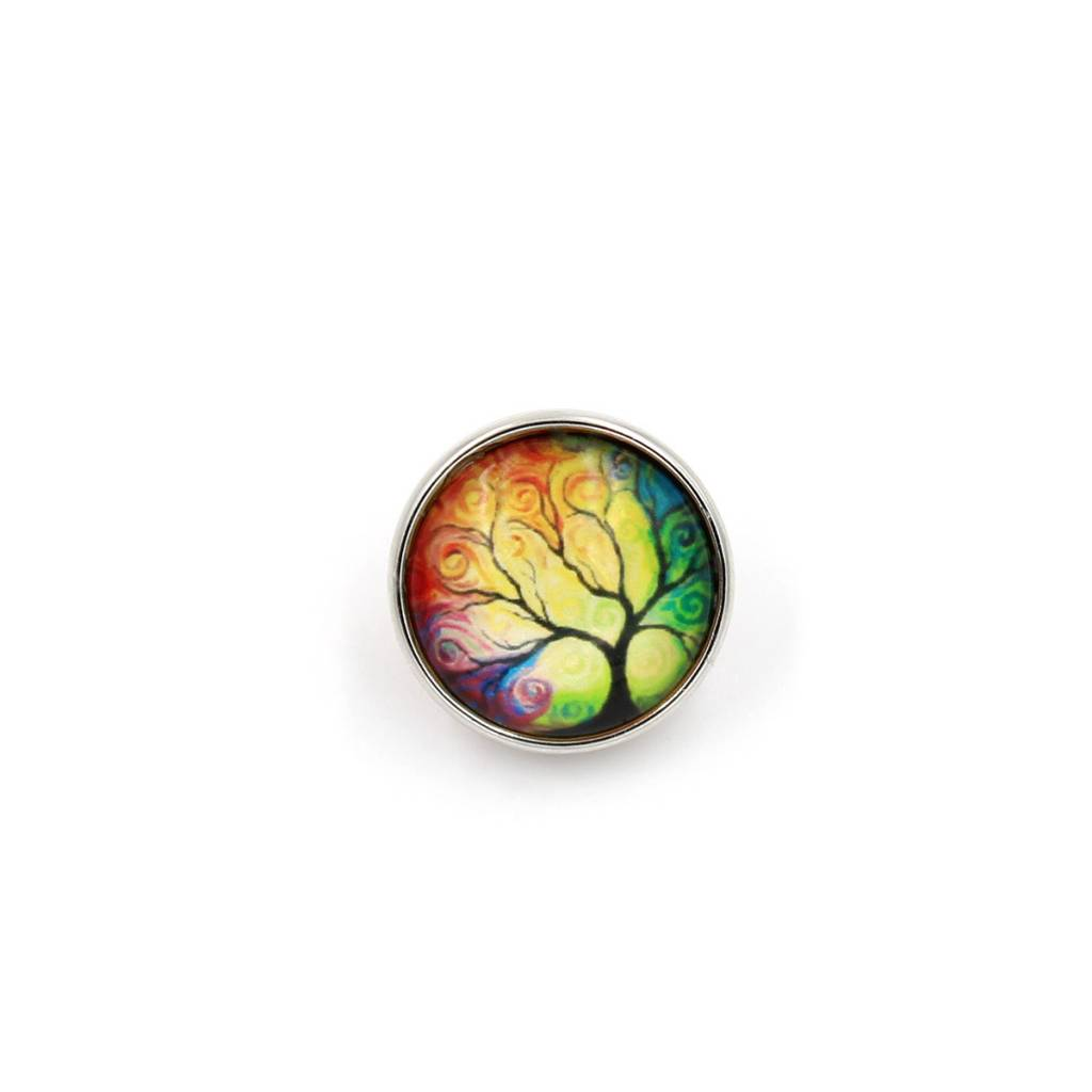 Snap Button Jewels™ | glass canvas art | yellow green | thin sunset tree