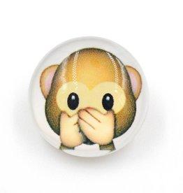 Snap Button Jewels™ | Fun Glass | Brown | Monkey Emoji