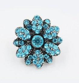 Snap Button Jewels™ | rhinestone | blue | vintage flower