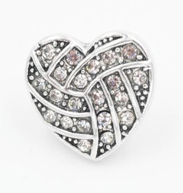 Snap Button Jewels™ | heart | silver | ornate white crystal