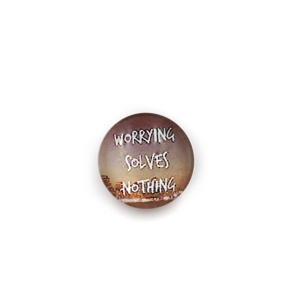 Snap Button Jewels™ | glass words of insight | brown | worrying solves nothing