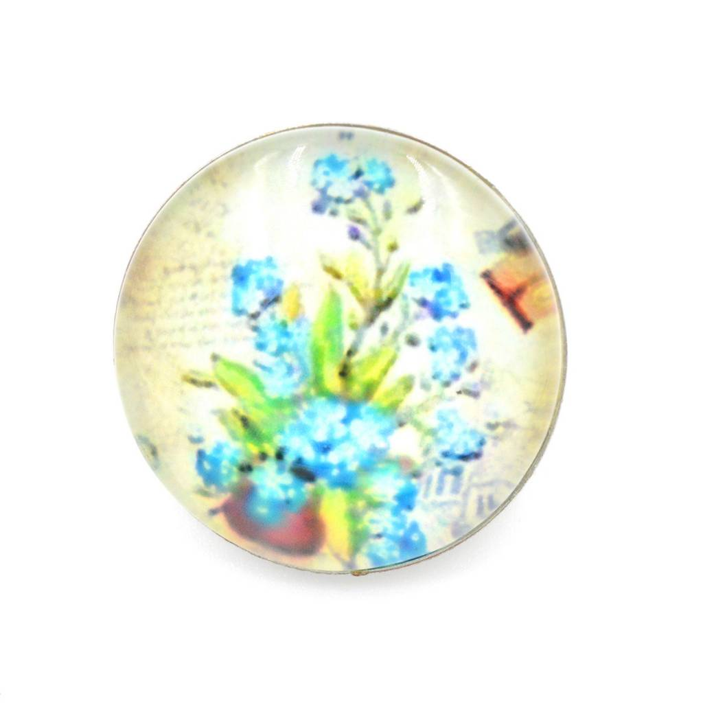 Snap Button Jewels™ | glass canvas art | blue | forget-me-not flowers