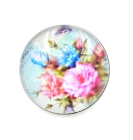 Snap Button Jewels™ |glass canvas art | pink blue | roses