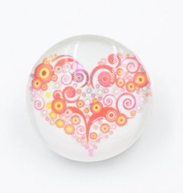 Snap Button Jewels™ | glass hearts| red yellow | circles and swirls heart