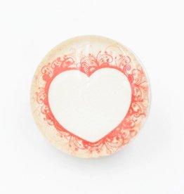 Snap Button Jewels™ | glass heart | white | red outline swirls