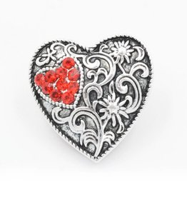 Snap Button Jewels® | heart | ornate small red heart