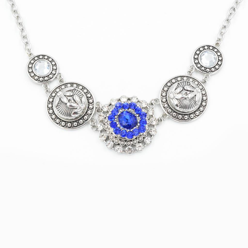 Snap Button Jewels™ | rhinestone | blue |ornate flower silver dots in middle