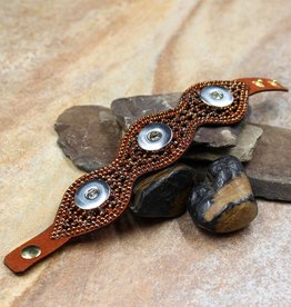 bracelet | leather & brown crystal | 3 snap button