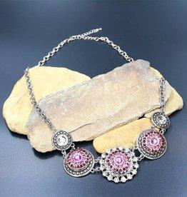 necklace | silver| 5 circle | 3 snap button