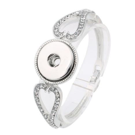 bracelet | silver | crystal heart t-clasp | 1 snap button